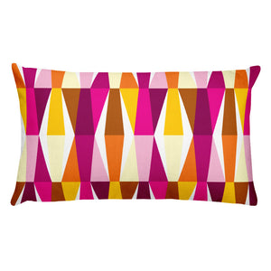 "Mid Century Modern Orange Pink LozAnges 20"" x 12"" Rectangular Cushion Throw Pillow"