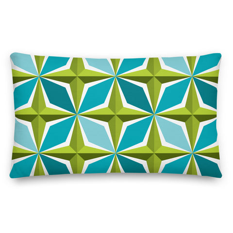 Mid Century Modern Aqua Green PolaRise Throw Pillow front view