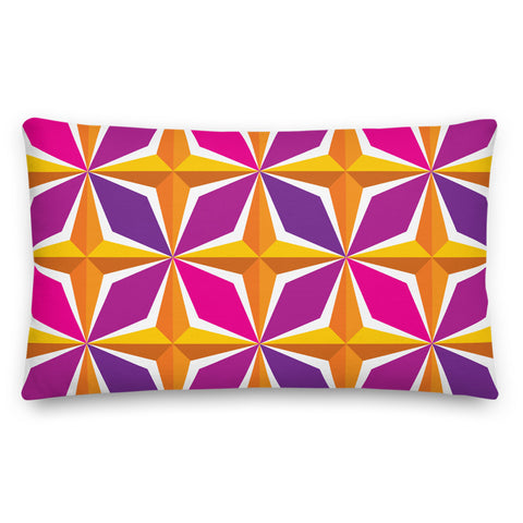 Mid Century Modern Orange Pink PolaRise Throw Pillow front view