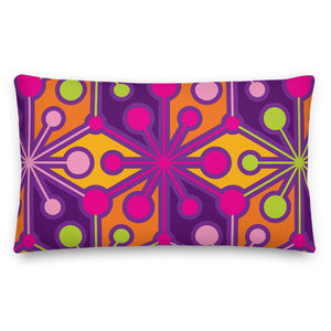 "Mid Century Modern Multicolour PsychoFlakes 20"" x 12"" Rectangular Pillow Cushion front view"