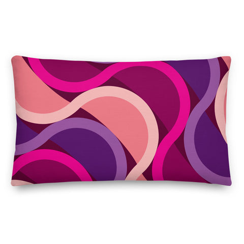 "Mid Century Modern Berry SunKissed 20"" x 12"" Rectangular Throw Pillow front view"