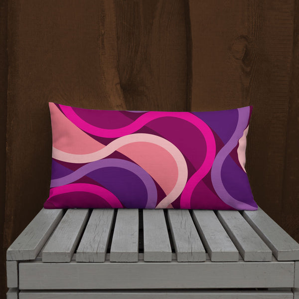 "Mid Century Modern Berry SunKissed 20"" x 12"" Rectangular Throw Pillow on a patio bench"