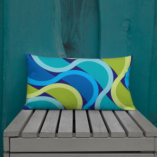 "Mid Century Modern Grape SunKissed 20"" x 12"" Rectangular Throw Pillow on a patio bench"