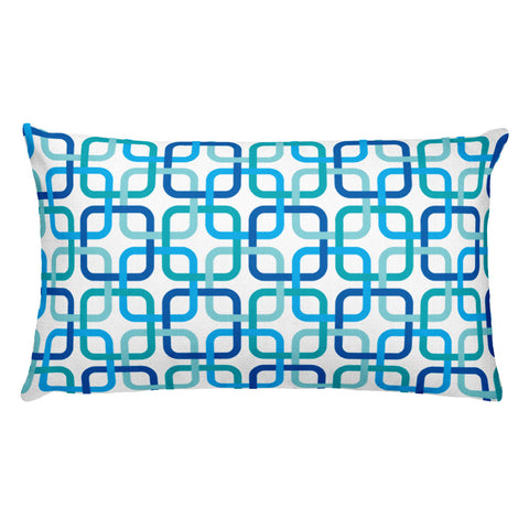 "Mid Century Modern Blue PanAmTrays 20"" x 12"" Rectangular Cushion Throw Pillow"