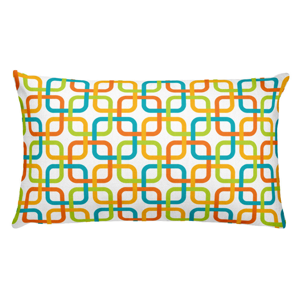 "Mid Century Modern Multicolour PanAmTrays 20"" x 12"" Rectangular Cushion Throw Pillow"