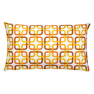 "Mid Century Modern Orange PanAmTrays Rectangular 20"" x 12"" Cushion Throw Pillow"