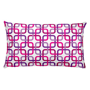"Mid Century Modern Pink PanAmTrays 20"" x 12"" Rectangular Cushion Throw Pillow"