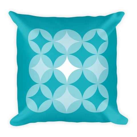 "Mid Century Modern Aqua BingoStars 18"" Square Cushion Throw Pillow"