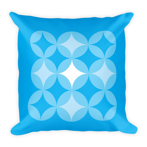 "Mid Century Modern Blue BingoStars 18"" Square Cushion Throw Pillow"