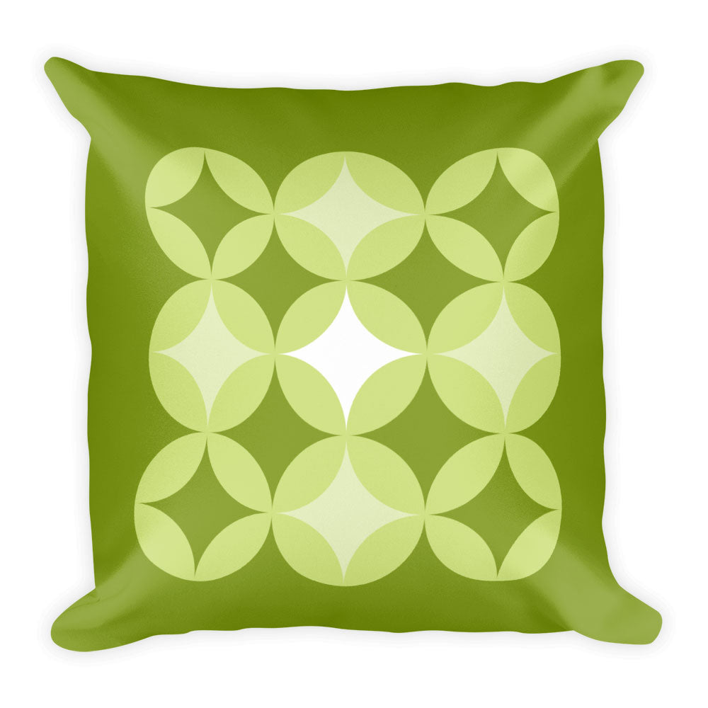 "Mid Century Modern Green BingoStars 18"" Square Cushion Throw Pillow"