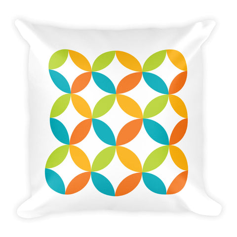 "Mid Century Modern Multicolour BingoStars 18"" Square Cushion Throw Pillow"