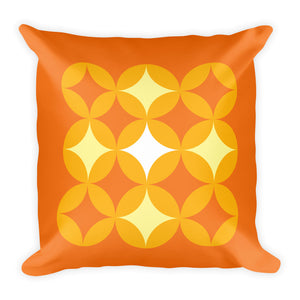 "Mid Century Modern Orange BingoStars 18"" Square Cushion Throw Pillow"