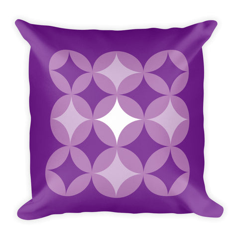 "Mid Century Modern Purple BingoStars 18"" Square Cushion Throw Pillow"