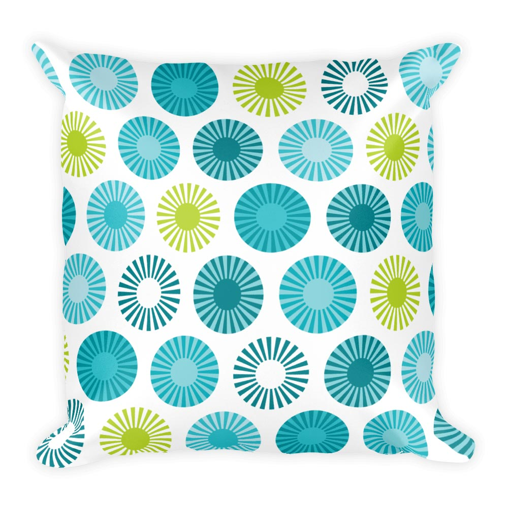 "Mid Century Modern Aqua FlowerPower 18"" Square Cushion Throw Pillow"