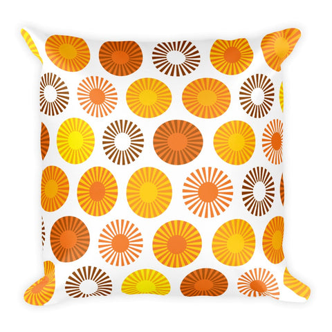 "Mid Century Modern Orange FlowerPower Square 18"" Cushion Throw Pillow"
