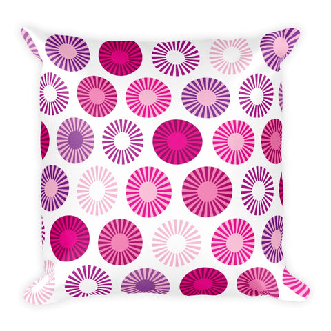 "Mid Century Modern Pink FlowerPower 18"" Square Cushion Throw Pillow"
