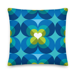 "Mid Century Modern Aqua Blue LoverLeaf 18"" Square Cushion Throw Pillow"