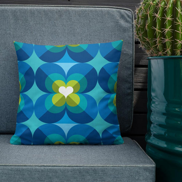 "Mid Century Modern Aqua Blue LoverLeaf 18"" Square Cushion Throw Pillow on a patio sofa"
