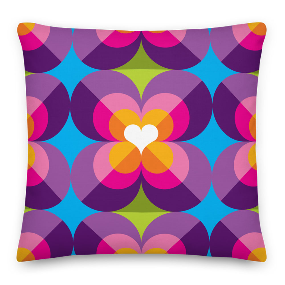 "Mid Century Modern Purple Blue LoverLeaf 18"" Square Cushion Throw Pillow"
