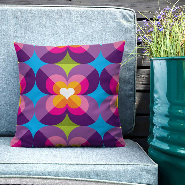 "Mid Century Modern Purple Blue LoverLeaf 18"" Square Cushion Throw Pillow on Outdoor Sofa"