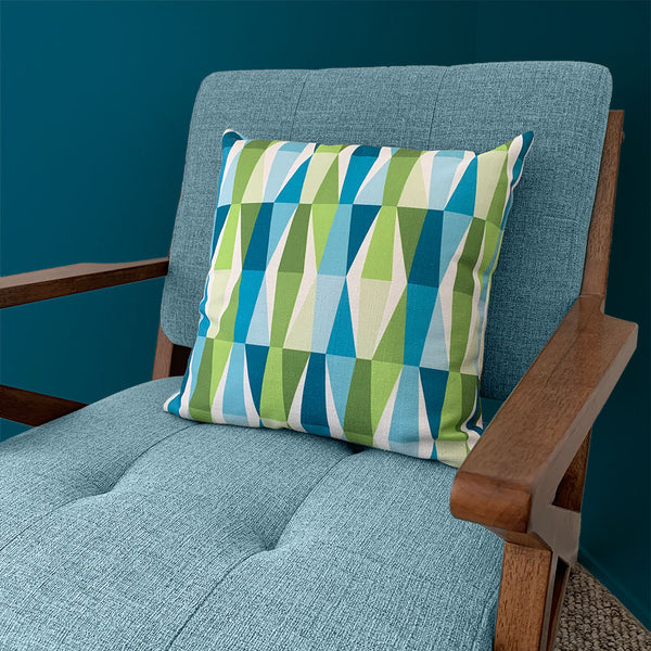 "Mid Century Modern Aqua Green LozAnges 18"" Square Cushion Throw Pillow on a vintage chair"