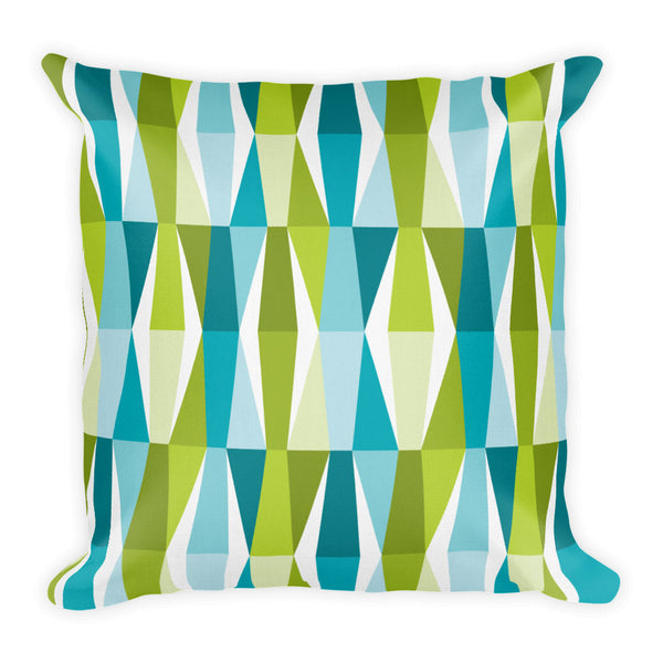 "Mid Century Modern Aqua Green LozAnges 18"" Square Cushion Throw Pillow"