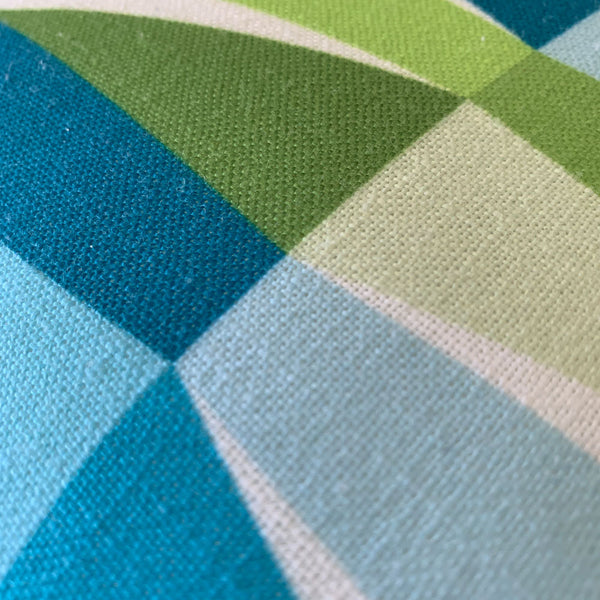 "Mid Century Modern Aqua Green LozAnges 22"" Square Cushion Throw Pillow material texture close up"