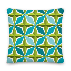 "Mid Century Modern Aqua Green PolaRise 18"" Square Cushion Throw Pillow front view"