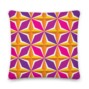 "Mid Century Modern Orange Pink PolaRise 18"" Square Cushion Throw Pillow front view"