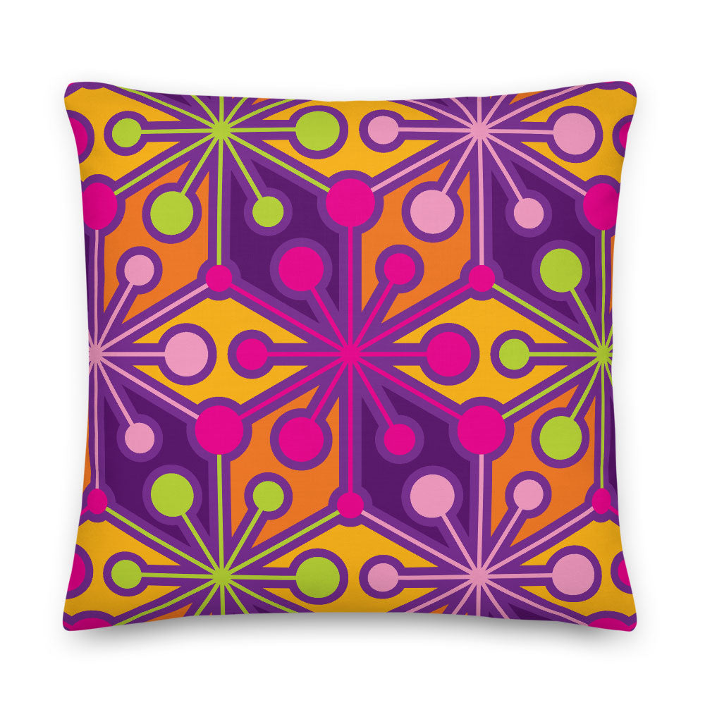 "Mid Century Modern Multicolour PsychoFlakes 18"" Square Throw Pillow front view"