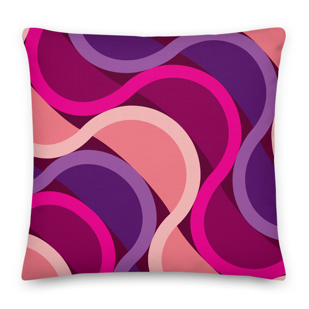"Mid Century Modern Berry SunKissed 18"" Square Throw Pillow front view"