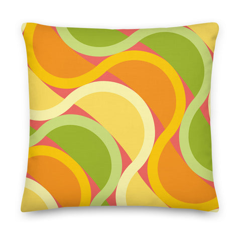 "Mid Century Modern Citrus SunKissed 18"" Square Throw Pillow front view"