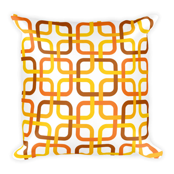 "Mid Century Modern Orange PanAmTrays Square 18"" Cushion Throw Pillow"