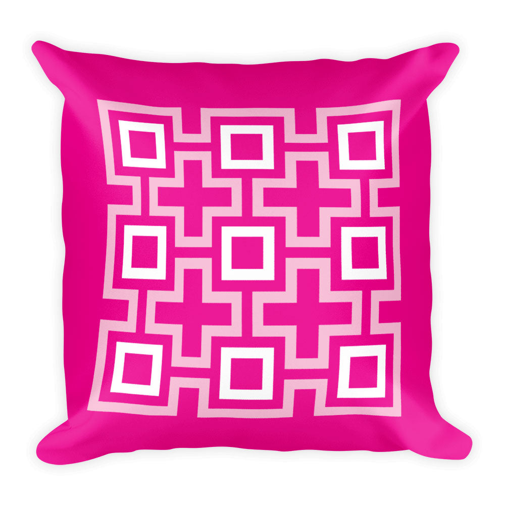 "Mid Century Modern Pink TikiMaze 18"" Square Cushion Throw Pillow"