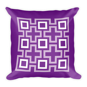 "Mid Century Modern Purple TikiMaze 18"" Square Cushion Throw Pillow"