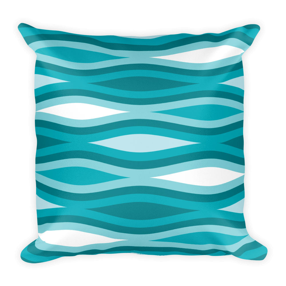 "Mid Century Modern Aqua TopperWaves 18"" Square Cushion Throw Pillow"