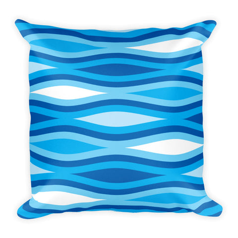 "Mid Century Modern Blue TopperWaves 18"" Square Cushion Throw Pillow"