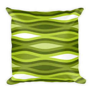 "Mid Century Modern Green TopperWaves 18"" Square Cushion Throw Pillow"