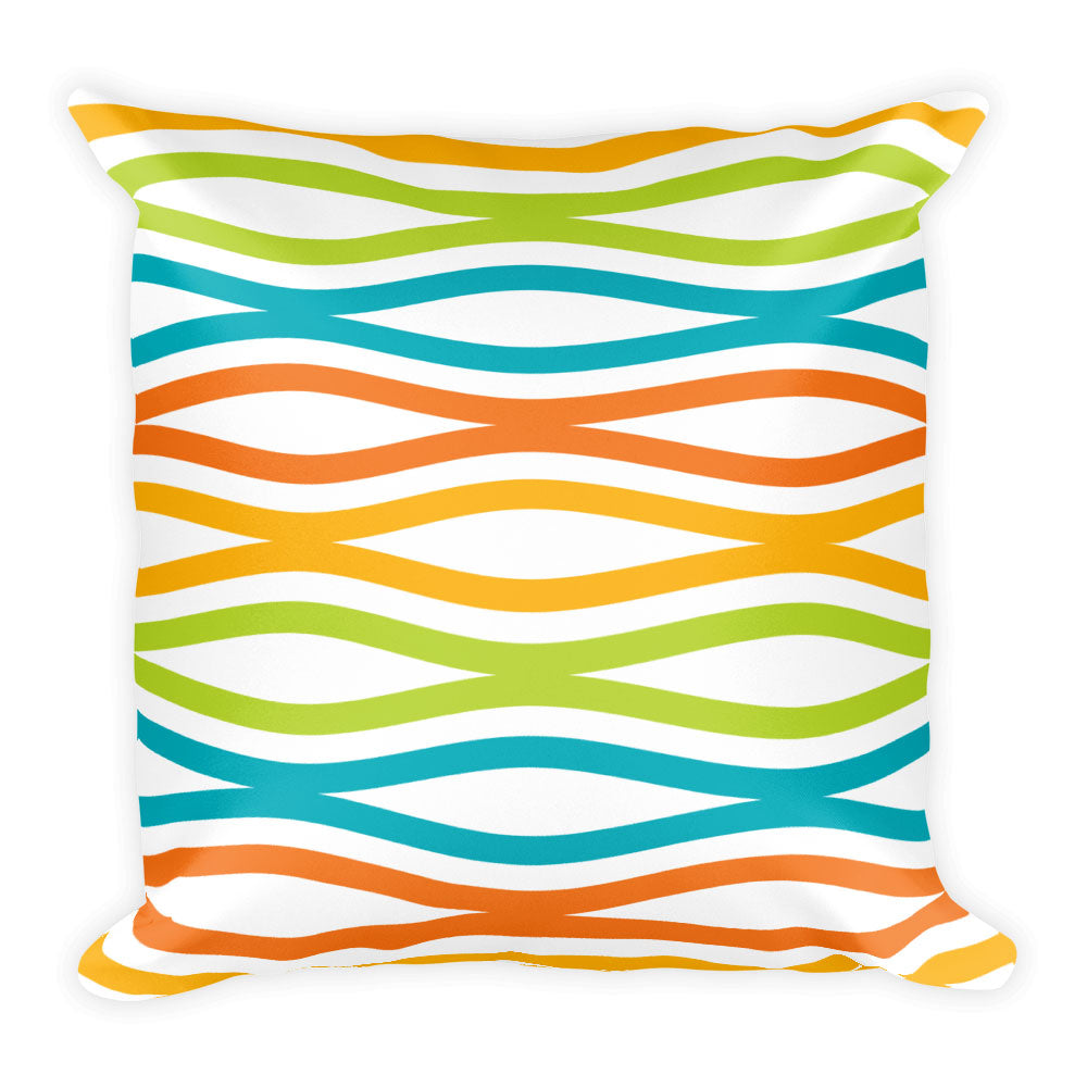 "Mid Century Modern Multicolour TopperWaves 18"" Square Cushion Throw Pillow"