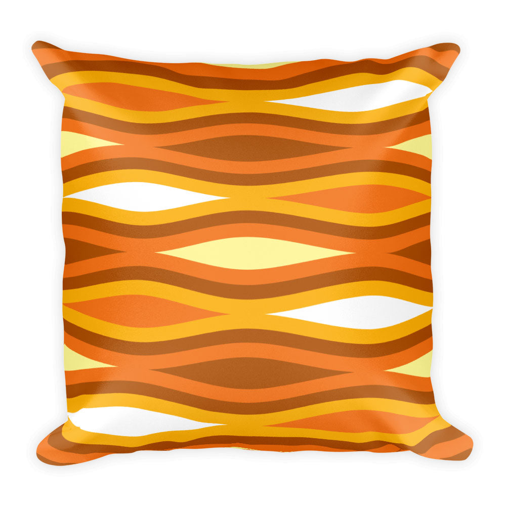 "Mid Century Modern Orange TopperWaves 18"" Square Cushion Throw Pillow"