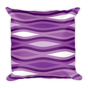 "Mid Century Modern Purple TopperWaves 18"" Square Cushion Throw Pillow"
