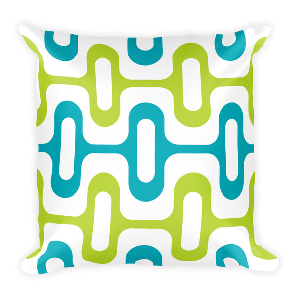 "Mid Century Modern Aqua ZipperDee 18"" Square Cushion Throw Pillow"