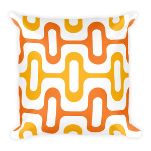 "Mid Century Modern Orange ZipperDee 18"" Square Cushion Throw Pillow"