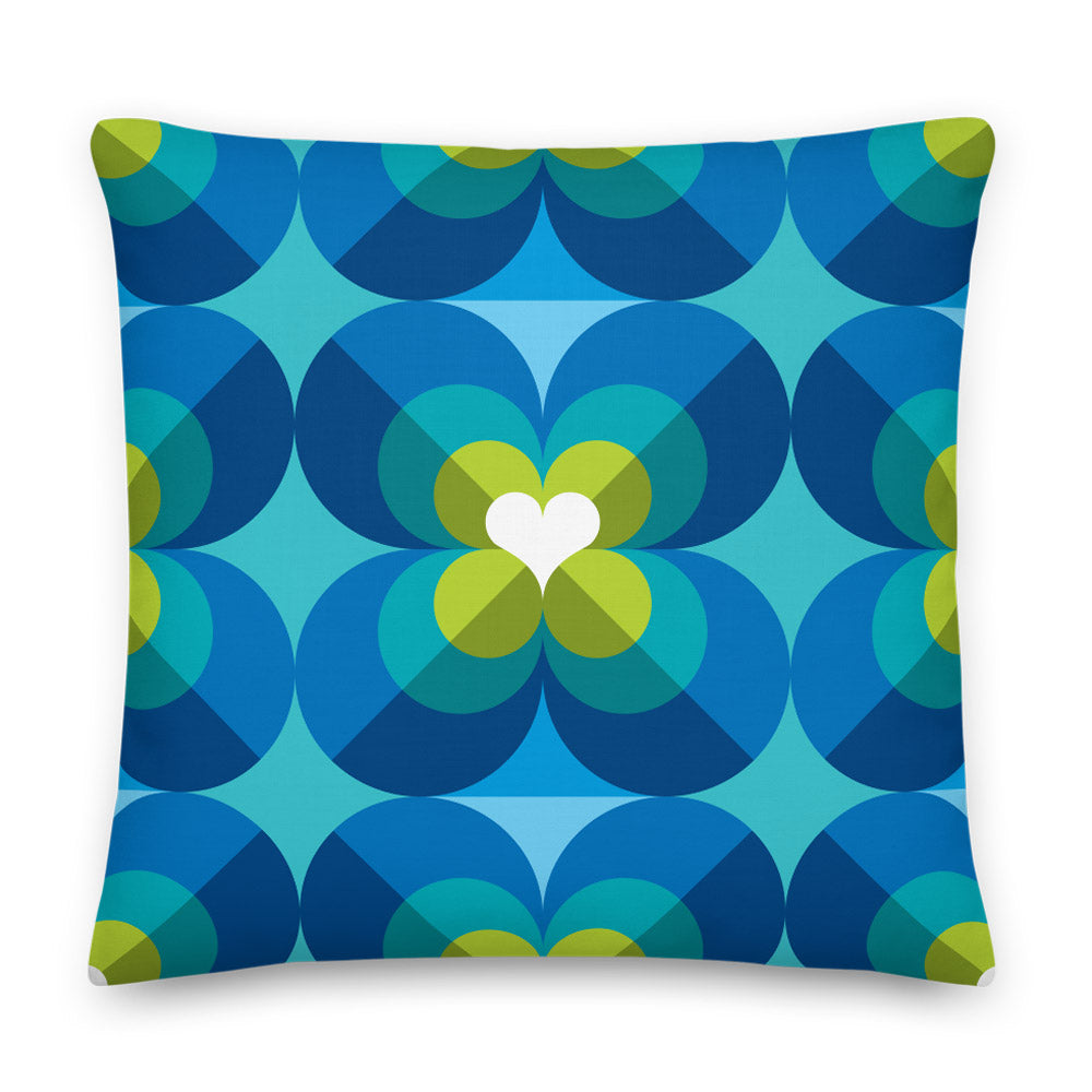 "Mid Century Modern Aqua Blue LoverLeaf 22"" Square Cushion Throw Pillow"