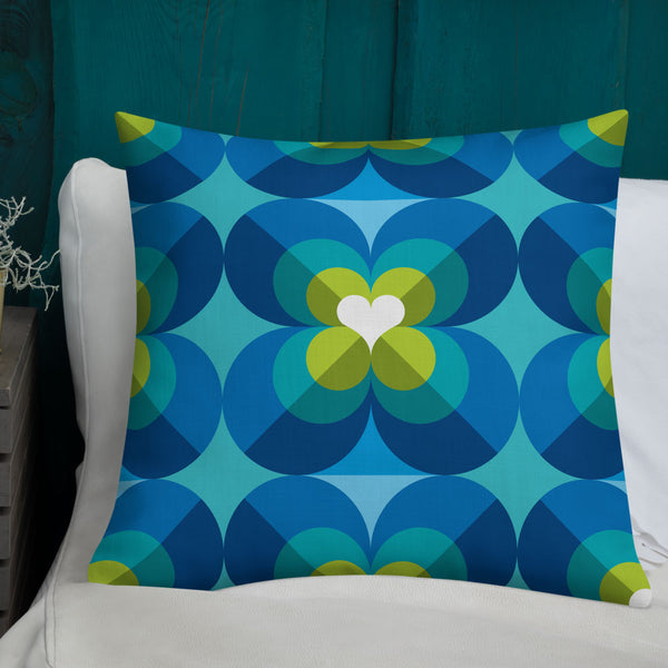 "Mid Century Modern Aqua Blue LoverLeaf 22"" Square Cushion Throw Pillow on a sofa"