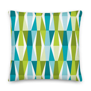 "Mid Century Modern Aqua Green LozAnges 22"" Square Cushion Throw Pillow"