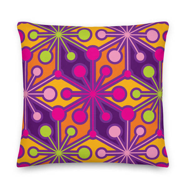 "Mid Century Modern Multicolour PsychoFlakes 22"" Square Throw Pillow front view"