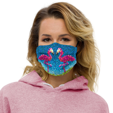 Mid Century Modern Flamingo Face Mask front view