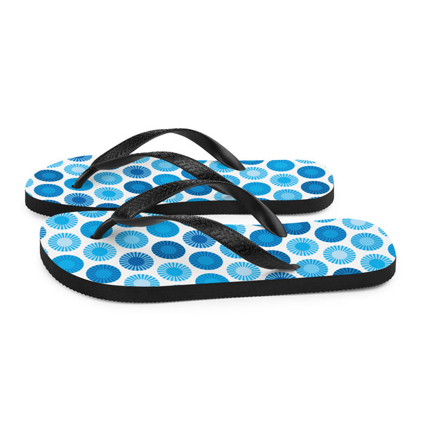 Mid Century Modern Blue FlowerPower Flip-Flops Side view