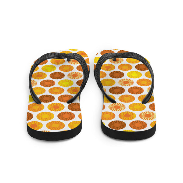 Mid Century Modern Orange FlowerPower Flip-Flops Back view